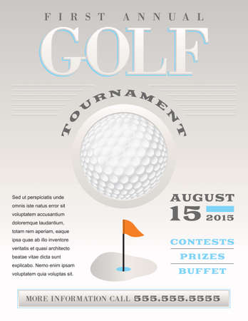 A minimal illustration of a golf flyer. Perfect for golf tournaments and events. Vector EPS 10 file available. EPS file is layered for easy updating of your text. Text has been converted to outlines.  Fonts used: BodoniXT: http:www.fontsquirrel.comfont