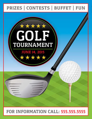 An illustration of a golf flyer. Perfect for golf tournaments and events. Vector EPS 10 file available. EPS file is layered for easy updating of your text. Text has been converted to outlines.  Fonts used: Gaspar http:www.fontsquirrel.comfontsgaspar Vector