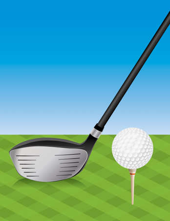 driving range: An illustration of a golf club driver and teed golf ball on the tee box. Vector EPS 10 available. EPS file contains transparencies. Illustration