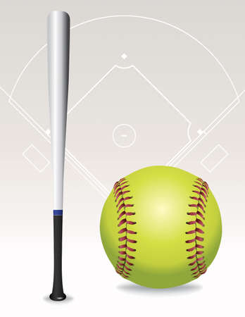 fast pitch: An illustration of a softball, softball field, and bat. Vector EPS 10 available. EPS file contains transparencies and gradient mesh.