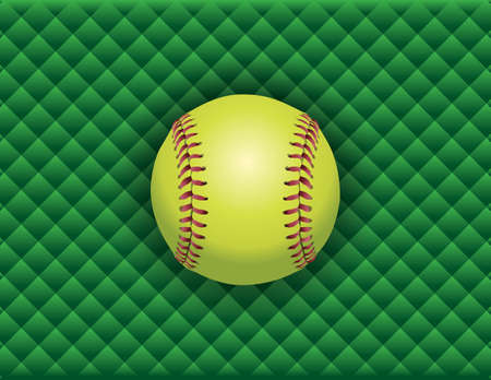 fast pitch: An illustration of a softball on a green checkered background. Vector EPS 10 available. EPS contains transparencies. Illustration