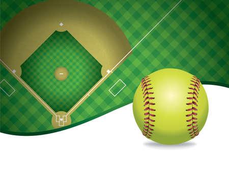 softbol: Una ilustraci�n de una pelota de b�isbol y campo de softbol. Sitio para la copia. Vector EPS 10 disponible. Archivo EPS contiene transparencias y malla de degradado. Vectores