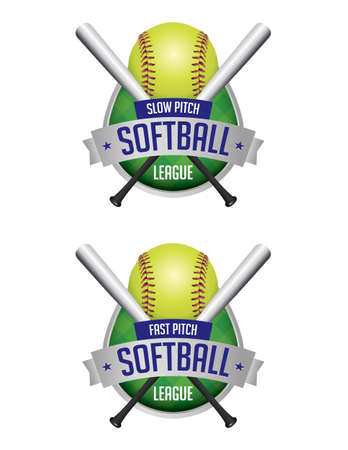 An illustration of softball league emblems and badges. Vector EPS 10 available. EPS contains transparencies and gradient mesh. Ilustração