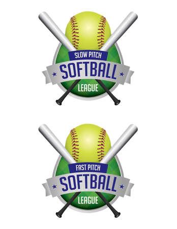 softbol: Una ilustraci�n de los emblemas de la liga de softbol y distintivos. Vector EPS 10 disponible. EPS contiene transparencias y malla de degradado.