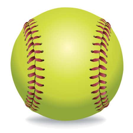 Een illustratie van een softbal op wit wordt geïsoleerd. Vector EPS-10 beschikbaar. EPS-bestand bevat transparanten en gradiënt maas in de slagschaduw. Vector Illustratie
