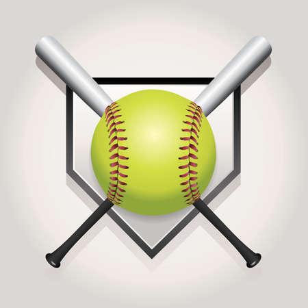 ソフトボール、バットとホーム プレートの図。ベクター EPS 10 利用できます。EPS ファイルには、透明度、グラデーション メッシュが含まれています