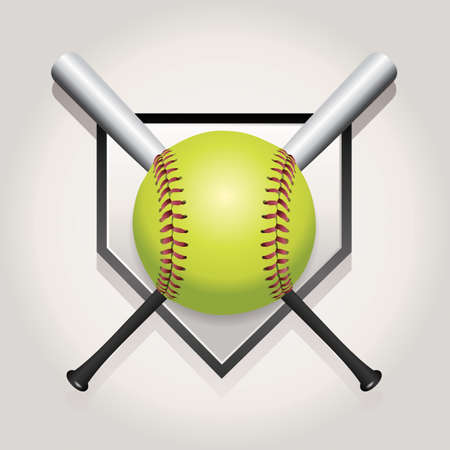 fast pitch: An illustration of a softball, bat, and home plate. Vector EPS 10 available. EPS file contains transparencies and gradient mesh.