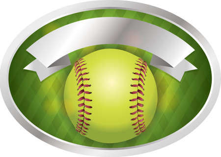 fast pitch: An illustration of a softball on a emblem background. Vector EPS 10 available. EPS contains transparencies.