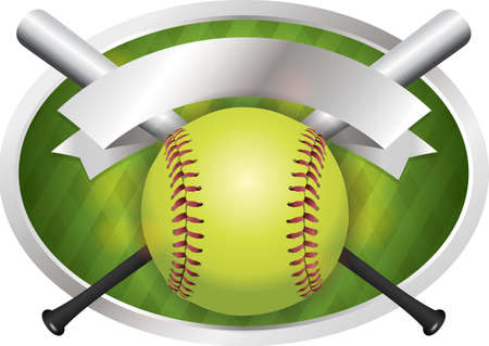 An illustration of a softball and bats on a emblem background. Vector EPS 10 available. EPS contains transparencies.