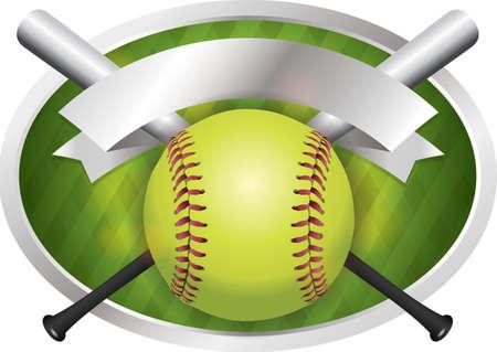 Een illustratie van een softbal en vleermuizen op een embleem achtergrond. Vector EPS-10 beschikbaar. EPS bevat transparanten. Stock Illustratie