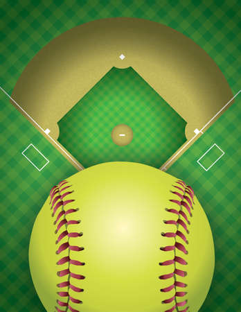 outfield: An aerial view of a softball field and ball. Vector EPS 10 available. EPS contains transparencies.