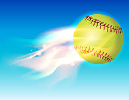 An illustration of a flaming softball in the sky. Vector EPS 10 available. EPS contains transparencies and gradient mesh. Çizim