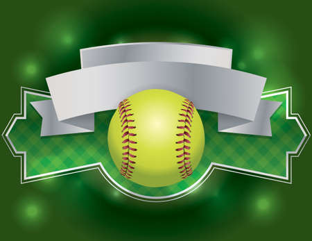 fast pitch: An illustration of a softball banner. Room for copy. EPS vector available. EPS contains transparencies.