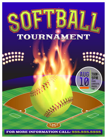 An illustration for a softball tournament. Vector EPS 10 available. EPS file contains transparencies.  Fonts have been converted to outlines.  Fonts used: Rex: http:www.fontsquirrel.comfontsrex Goblin: http:www.fontsquirrel.comfontsgoblin Vector