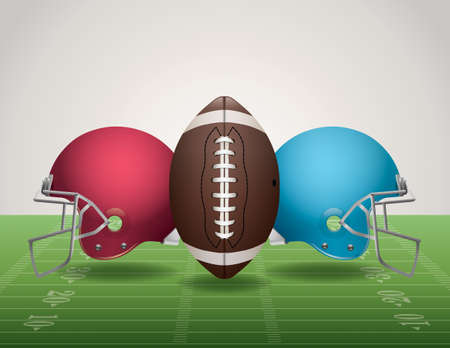 An illustration of an American Football field, football, and helmets.
