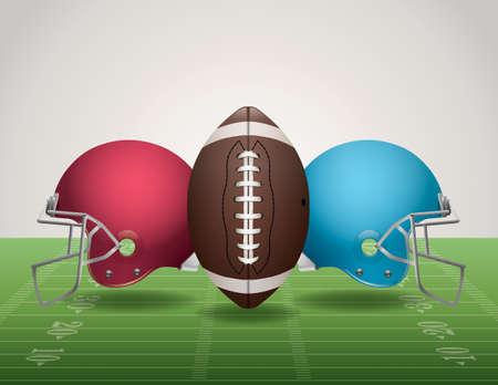 An illustration of an American Football field, football, and helmets.