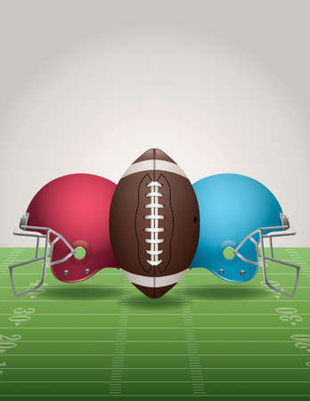 nfl: An illustration of an American Football field, football, and helmets.
