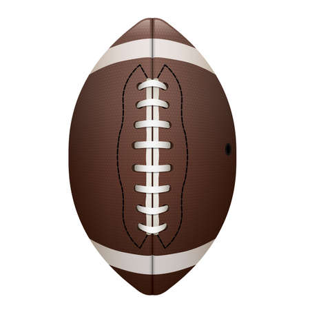A realistic illustration of an American football on a white background.