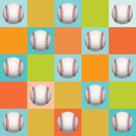 An illustration of baseballs in a colorful background pattern.