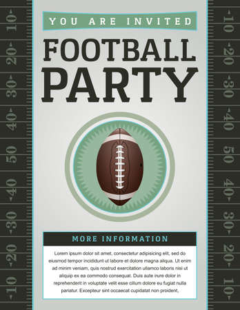 football party: An American Football flyer design perfect for tailgate parties, football invites, etc.