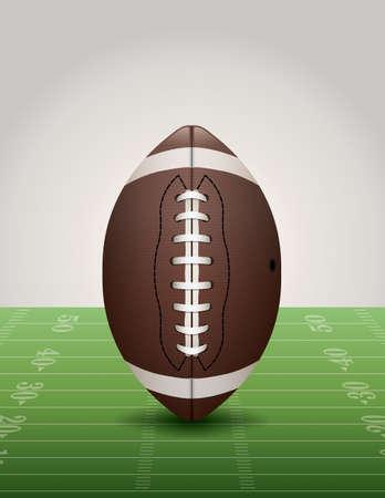 An illustration of an American football on a football field Vector
