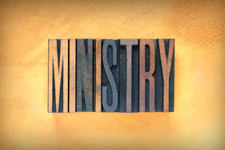 missionary: The word MINISTRY written in vintage letterpress type