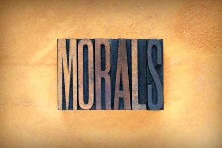 morals: The word MORALS written in vintage letterpress type