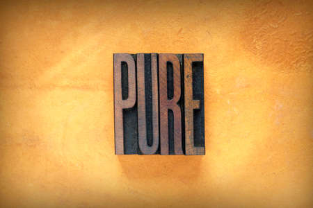 unblemished: The word PURE written in vintage letterpress type