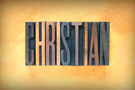 The word CHRISTIAN written in vintage letterpress type photo