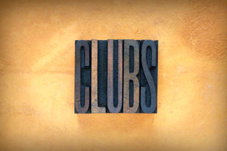 The word CLUBS written in vintage letterpress type Stockfoto