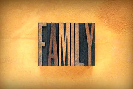 descendants: The word FAMILY written in vintage letterpress type
