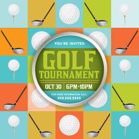 An golf tournament flyer design. EPS 10 available. EPS file contains transparencies. Text has been converted to outlines and is on its own layer.  Fonts used: http:www.fontsquirrel.comfontskirsty Ilustração