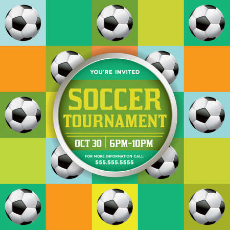 A nice design for a soccer tournament, event, tryouts, and more. Vector EPS 10 available. File contains transparencies and gradient mesh. File is layered for easy separation of text, design elements, etc. Fonts have been converted to outline.  Fonts used: