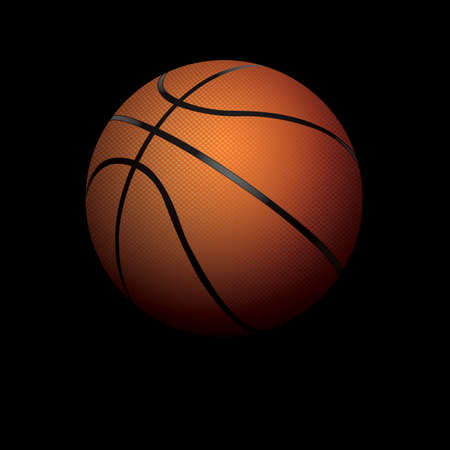 A basketball illustration isolated on a black background and shadowed. Vector EPS 10 available. Room for copy.