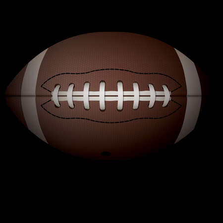 pigskin: A realistic illustration of an American football on a black shadowed background.