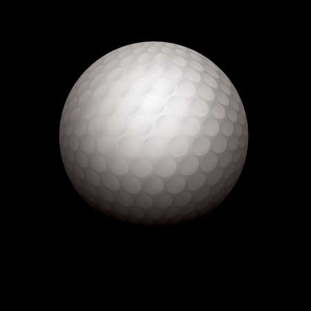 A white golf ball isolated on a black shadowed background. Vector EPS 10 available. EPS file uses a gradient mesh, masks, and transparencies. Room for copy.