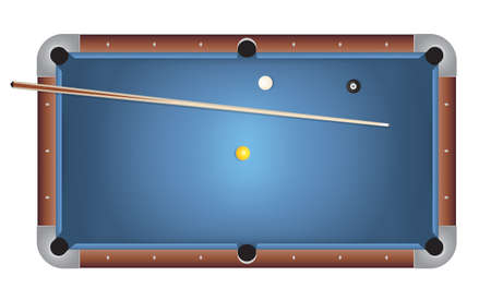 A realistic billiards pool table illustration. Blue felt top with wooden rails, stick, and balls. Vector EPS 10 available. Vector file contains transparencies and gradient mesh. Vector