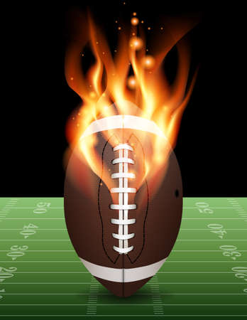 A flaming american football on field. Vector EPS 10 available. Vector contains transparencies and gradient mesh. Ilustração