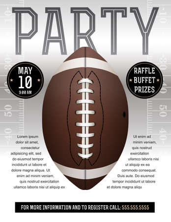 An American Football flyer design perfect for tailgate parties, football invites, etc. EPS 10 available. EPS file contains transparencies. Text has been converted to outlines and is on its own layer.  Fonts used: Rex http:www.fontsquirrel.comfontsrex