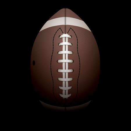 A realistic illustration of an American football on a black shadowed background.