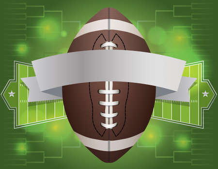 An american football and banner with field background. Vector EPS 10 available. EPS file contains transparencies. Ilustração