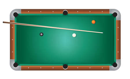 A realistic billiards pool table illustration. Green felt top with wooden rails, stick, and balls. Vector EPS 10 available. Vector file contains transparencies and gradient mesh.