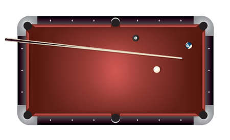 A realistic billiards pool table illustration. Red felt top with contemporary composite black rails, stick, and balls.