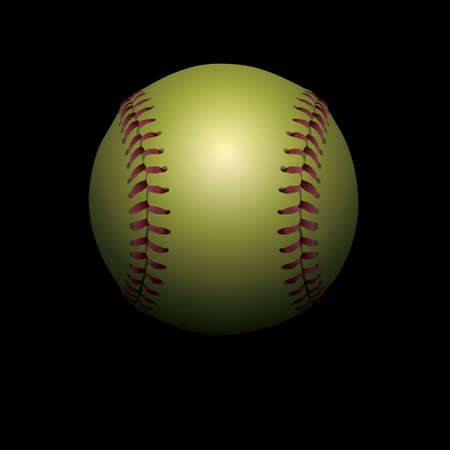 An illustration of a softball isolated on a black shadowed background.