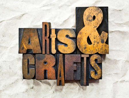 The words Arts & Crafts written in vintage wood letterpress type