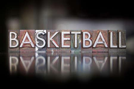 The word basketball written in vintage letterpress type