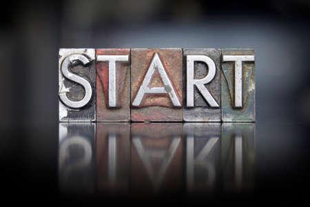 The word Start written in vintage letterpress type