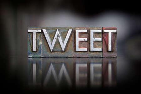 The word Tweet written in vintage letterpress type