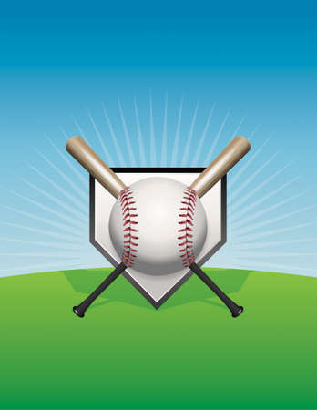 An illustration of a baseball, bats, and home plate against a skyline background. Vector