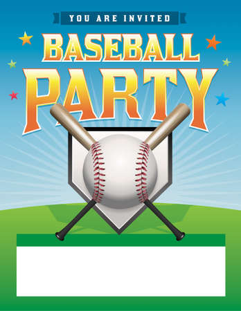 A baseball party flyer illustration. Room for copy space.